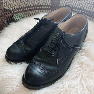 John Fluevog Black Leather Wingtip Oxford Shoes